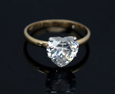 14K Yellow Gold Heart Shaped 3.00Ct Created Diamond Brilliant Engagement Ring