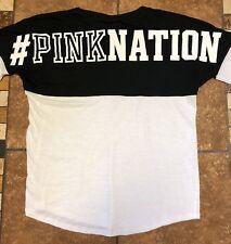 Victorias Secret Pink Nation Long Sleeve T-Shirt Size Medium Black White
