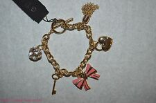 NEW GUESS GOLD TONE HEART + PINK BOW + CRYSTAL BALL + KEY CHARM BRACELET VALENT