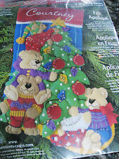 Dimensions Christmas Felt Applique Holiday Stocking Craft Kit,TREE TRIMMING,8107