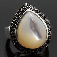 Marcasite 925 Sterling Silver Natural White Shell Drop Ring Size 7/8/9/10