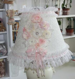 Beautiful handmade vintage schabby chic lampshade on a larger lamp