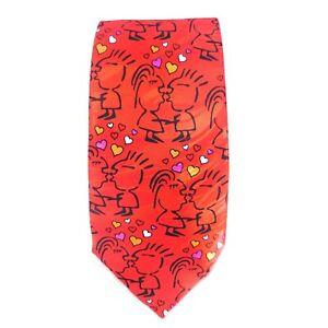 Valentine's Day Tie Kissing Cartoon Couple Red Tie Keith Daniels 100% Silk