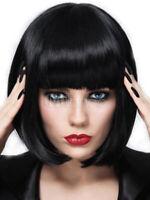 100% Human Hair Natural Medium Straight Black Fashion Women's Wig