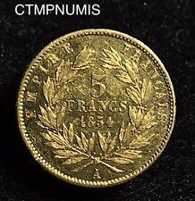 5 FRANCS OR  NAPOLEON III PETIT MODULE  TETE NUE   1854 A  PARIS   NETTOYEE