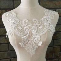 Large 3D Lace Floral Wedding Motif Embroidery Applique Sew Cute Dress Trim White