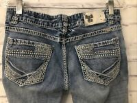 Rock & Roll Cowgirl Low Rise Women's Jeans Size 30x33 Thick Stitch Faded Western
