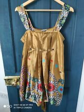 Blue Magic Dress top satin gold flowers unusual fairy hippy boho summer festival