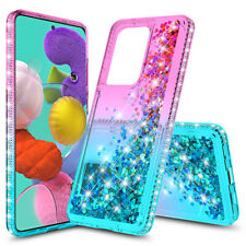 For Samsung Galaxy A51/A71 4G Diamond Bumper Clear Quicksand  Glitter Case Cover