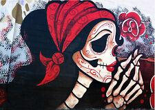 A0 SUPER SIZE CANVAS STREET ART GRAFFITI PRINT skeleton urban skull  BANKSY