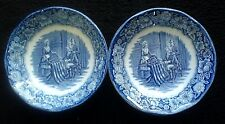 LIBERTY BLUE BETSY ROSE HISTORIC COLONIAL SCENES blue/white 5 inch bowls x 2
