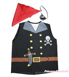 Halloween Pirate Eye Mask Vest Top Headscarf  Dress Up Kids Unisex Costume Set