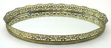 """New listing Vintage Mirrored Vanity Tray Perfume Small Brass Oval Ornate Gold Filigree 12.5"""""""