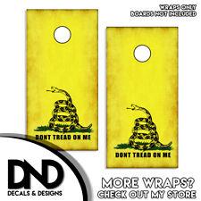 Don't Tread on Me Gadsden FLAG Cornhole Board Wraps Vinyl Sticker USA Set of 2