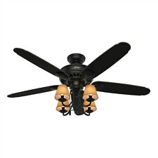 Hunter Fan 54 inch Basque Black Ceiling Fan w/ Brushed Gold Accents Finish