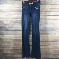 Hollister Jeans Women's 00R W 23 L 33 Distressed Dark Wash Blue Denim