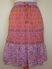 New_Beautiful_Boho_Chiffon Floral Print Tiered Skirt_Lined_Coral / Pink_S, M, L