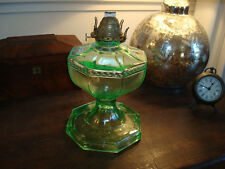 Green Glass Large Oil Lamp w/shade VASELINE -depression-type GLASS beautiful