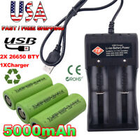 2x 26650 Battery 5000mAh 3.7V Li-ion Rechargeable Batteries +2-slot USB Charger,