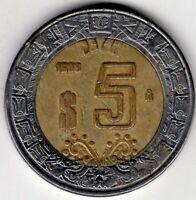 1998 MEXICO FIVE 5 PESOS BIMETALLIC  NICE WORLD COIN