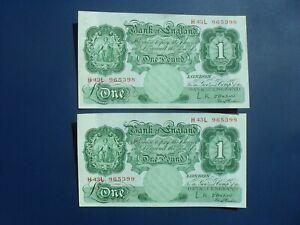 2No. CONSECUTIVE 1955 O'BRIEN (GB/ENGLAND) £1 BANKNOTES ORIGINAL GEF