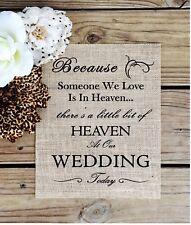 "8""x10"" Burlap Sign In Loving Memory Wedding Sign"