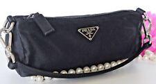 $598~PRADA BLACK Satin Hobo~Tote~BAG~HOBO BARREL silk Wristlet Authentic Evening