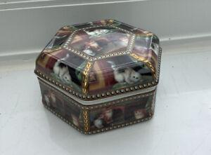 ORCHID DESIGNS PORCELAIN CAT HEXAGONAL TRINKET BOX