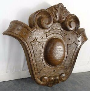 Antique French Carved Wood Pediment Crest Medallion Solid Oak
