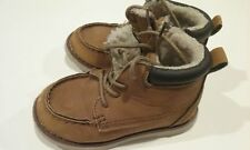 PRE-OWNED BOYS TODDLER WINTER BOOTS SIZE 8 FUR LINED TAN BROWN