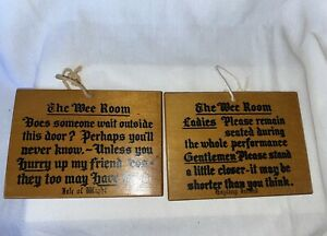 Vintage Style Bathroom Humourous Wooden Signs