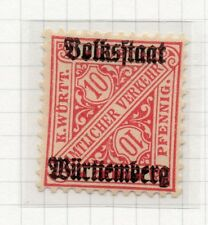 Wurttemberg 1919 Official Early Issue Fine Mint Hinged 10pf. Optd 291512