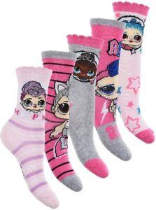 5 Pairs of Girls LOL Socks Kids Children LOL Surprise Socks Size UK 6 - 12 & 1.5