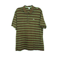 Lacoste Polo Shirt Men's Short Sleeve Polo Size 8 Striped XXL Brown and Green