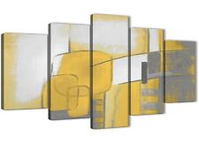 5 Panel Mustard Yellow Grey Painting Abstract Bedroom Canvas Art - 5419 - 160cm