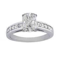 GIA Certified Diamond Engagement Ring Cushion Cut 18k White Gold 1.70 carat