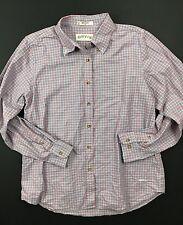 Orvis LS Button Up Shirt Baby Blue And Pink Plaid Mens Medium M EUC