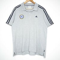 Chelsea FC Official Football Adidas Mens Grey Polo Shirt Size Large Three Stripe