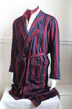 "vintage St Michael red/navy stripe dressing gown smoking jacket 60s mens M 40"""