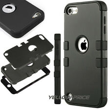 For iPod Touch 6 5th Case-HARD&SOFT RUBBER HIGH IMPACT ARMOR CASE HYBRID + FILMS