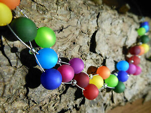 Neu unikat Regenbogen Polariskette Halskette Polaris perlen Collier Kette bunt