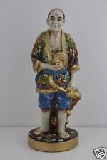 Antique late 19th C. japonais Satsuma figurine de MAN & Lapin signé hauteur 30 cm