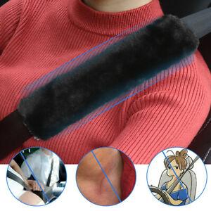 2pcs Car Auto Sheepskin Seat Belt Covers Shoulder Strap Cushion Pads Accessories