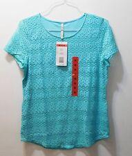 Leo & Nicole Women's Knit Top - Aqua Size M - Cotton Blend - Lined