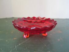 1x Fostoria American Glass Ruby Red Round Three Footed Nappy DIsh