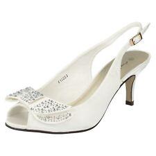 Ladies Slingback PEEP Toe Shoes Anne Michelle F10253 UK 5 Ivory