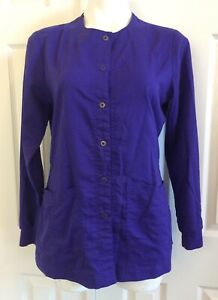 GREYS ANATOMY Scrub Top Jacket Medical Lab Coat Snap Up Long Sleeves Purple SM
