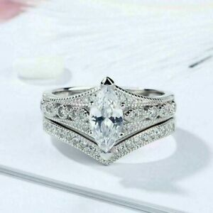 Bridal Ring 4.20Ct Marquise Cut Diamond 14k Solid White Gold Curved Wedding Set