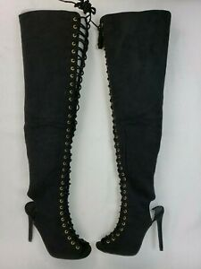 """Womens Thigh High Black Boots Lace Front 4.75"""" High Heels Size 38 5    Trendy"""