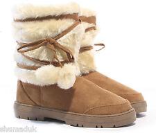 ELLA Womens Ladies Girls Ankle Flat Faux Fur Lined Boots Warm Winter SIZE 3-9